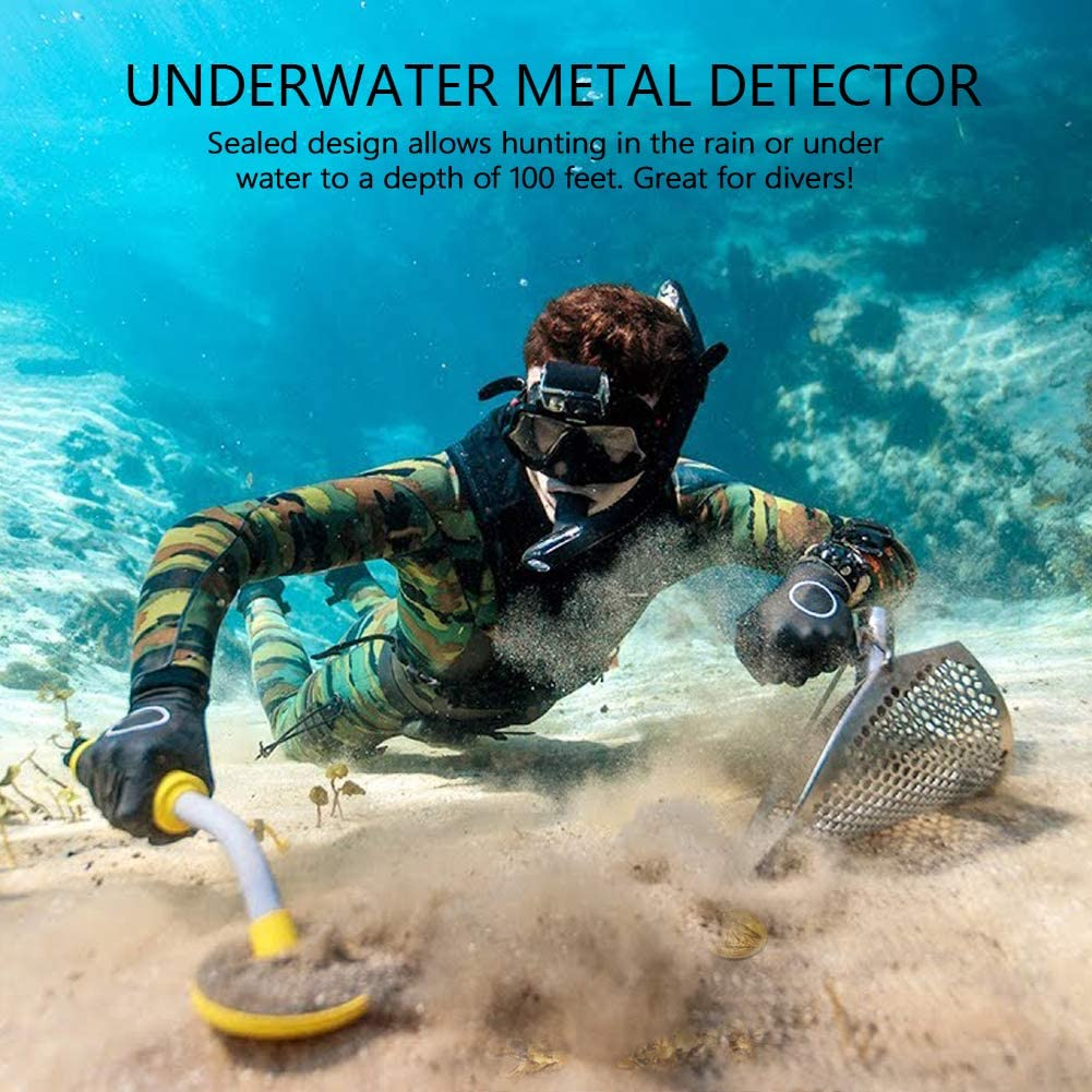 underwater metal detector in use